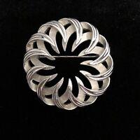 Vintage Trifari Designer Silver Tone Pin / Brooch Lacy Wreath Circle
