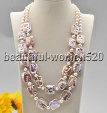 Z8934 2Strds 20mm Lavender Square Coin Baroque Keshi Round Pearl Necklace 21inch