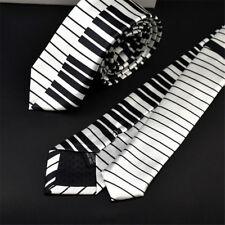 Classic For Men Black & White Skinny Tie Music Tie Piano Keyboard Necktie