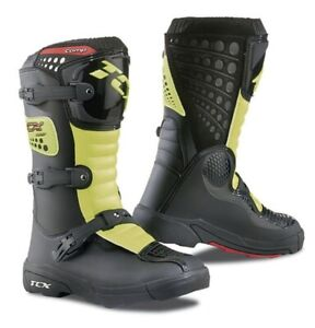 TCX Comp Youth Kids Motocross Boots UK 11 Black/Fluo Yellow New On Sale