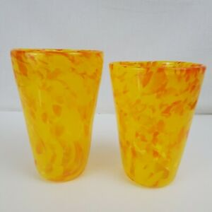 Yellow and Orange Drinking Glasses Hand Blown  Art Glass, Pint Glass