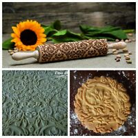 Paisley Embossed Dough Roller Engraved Rolling Pin Carved Molds by Oma Marta