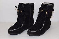FREE SHIPPING Soda Womens Sz 7 Black Faux Leather Flats Short Fashion Boots NICE