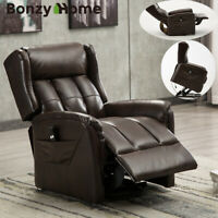 Power Lift Recliner Chair Soft Air Leather Safety Motion with RC for Elderly