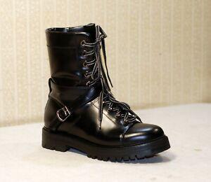 1800$ VALENTINO GARAVANI Rockstud black chunky lace up combat boots 40 us9 uk7