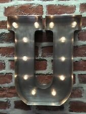 LED LIGHT INDUSTRIAL STEEL METAL ALPHABET LETTER  U - WALL/ FREE STANDING 13 IN.