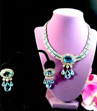 LES BERNARD DYNASTY TV SHOW AQUA CRYSTAL RHINESTONE COLLAR NECKLACE EARRINGS SET