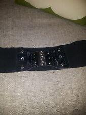 BLACK Elastic Stretch Wide Cinch Waist Corset Nurse Dress Belt  VINTAGE