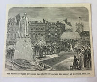 1885 magazine engraving ~ STATUE OF ALFRED THE GREAT Wantage, England