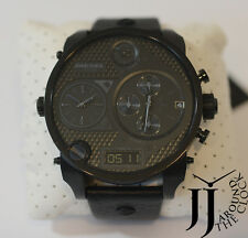 New Diesel Oversize Mr Daddy Core Black Black Out Leather Watch DZ7193
