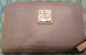 Dooney & Bourke Saffiano Leather Zip Around Wallet in Tan 6.5 in. Wide