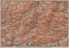 LUGNETZTAL SURSELVA. Valserrhein Furketlihorn Hinterrhein Splügen 1922 old map