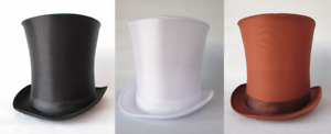 LINCOLN GENTLEMAN VICTORIAN DICKENS COSTUME TALL TOP HAT STOVE PIPE SATIN DELUXE