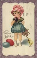 Little Girl in Pink Bonnet - Colored Eggs EASTER c1910 Postcard rpx