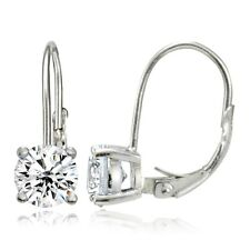 925 Sterling Silver Cubic Zirconia 6mm Round Leverback Earrings