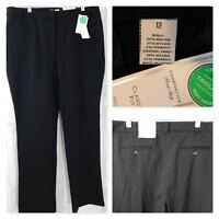 NWT~Charter Club PANTS~BLACK STRETCH TROUSER CLASSIC FIT TUMMY SLIMMING 12 $70