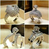 Chic Women Crystal White Sapphire 925 Silver Ring Wedding Engagement Jewelry