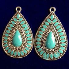 2Pcs 41x26x2mm Carved Tibetan Silver Turquoise Teardrop Pendant Bead D43094