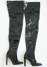 $1300 BRIAN ATWOOD *MADELINE* Black PATENT LEATHER OVER THE KNEE Boots 39 US-9