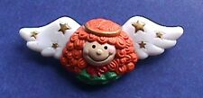 Russ Pin Christmas Vintage Angel Redhead with Stars Holiday Brooch
