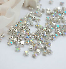 < SZHAB20 72 pcs SS20 sew-on AB Loose Rhinestone crystal Silver Plated Cup