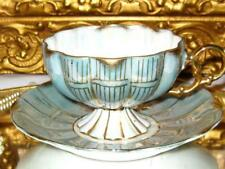 Royal Sealy SAGE & FANCY GOLD IRIDESCENT Footed Tea Cup and Saucer