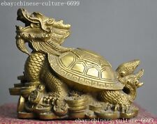 old Chinaese brass Feng shui auspicious wealth coin Dragon turtle beast statuer