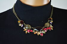 Nordstrom Joe Fresh Women Red Gold Multi Rhinestone Bib Necklace Fashion Jewelry