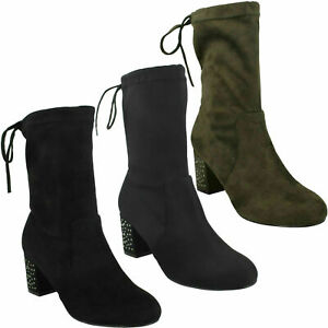 LADIES SPOT ON MICRO FIBRE ANKLE BOOT F5R0857