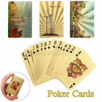Golden Playing Cards Deck Foil Poker Set 24K Gold Plastic Game Waterproof Home