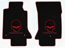 NEW! Black Floor Mats 2005-07 CORVETTE Embroidered C6 & Jake Logo Red Binding