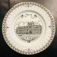 PLYMOUTH - THE COLLEGE ltd edition plate black & white, 18ct gold rim, 300 made