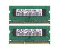 8 GB DDR3 RAM 2X 4 GB PC3-10600 1333Mhz 204Pin SODIMM Unbuffered Laptop Memory