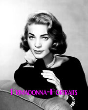 LAUREN BACALL 8X10 Lab Photo B&W Elegant Pearls and Gown, Glamour Portrait
