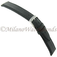 18mm Morellato Lorica Black Synthetic Leather Stitched Mens Watch Band EZ PINS!