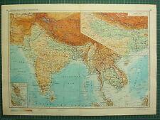 1955 LARGE RUSSIAN MAP ~ INDIA CEYLON THAILAND TIBET NEPAL BOMBAY