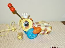 VINTAGE 1958 FISHER PRICE DIV OF QUAKER OATS QUEEN BUZZY BEE #444 WOOD PULL TOY