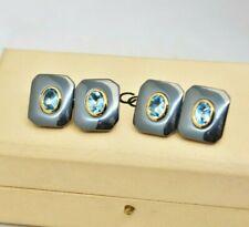 RARE Vintage 18ct gold cufflinks Links of london Hematite Blue topaz 3ct #R583