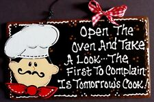 Fat Chef Kitchen Sign Tomorrow's Cook Bistro Cucina Wall Art Hanger Decor Plaque