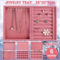 Pink Velvet Jewelry Box Earring Ring Display Case Organizer Holder Storage