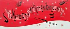 Unused Christmas Greeting Card Musical Note Instrument Violin Drum French Horn