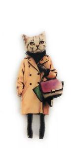 Kawaii funky Fashion model Tabby Cat Trench Coat quirky kitsch acrylic brooch