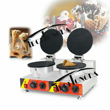 Ice Cream Cone Machine Egg Roll Waffle Maker Dual Baker Iron 110V Food