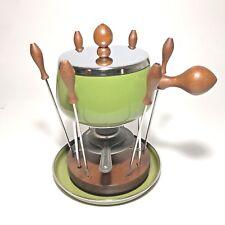 Vintage Fondue Gail Craft Made in Japan Set for 6 Green Retro Decorator Display