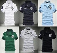 New Men's Stylish Casual Shirts Slim Fit Short Sleeve Polo Shirt T-shirts Tee uq