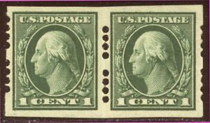 U.S. #408 Mint Pair w/ Farwell Perfs - 1c Green ($47)
