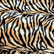 VELBOA FAUX FUR BLACK & GOLD ZEBRA ANIMAL PRINT FABRIC SEWING POLY BY THE YARD