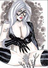 MARVEL Comic Sexy BLACK CAT 1 Original Art 9x12 SPIDERMAN HOMECOMING Movie BOOBS