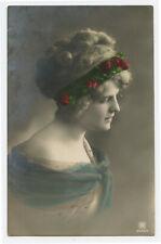c 1910 Vintage Glamour PRETTY YOUNG LADY Profile Pose Fashion photo postcard