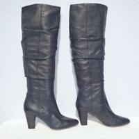 Hobbs Leather Boots Size UK 4 Eur 37 Womens Ladies Black Sexy Ruffled Pull on